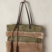 Shearling Stripe Tote by Holding Horses Green One Size Bags