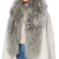 Shearling Collar Reversible Shawl