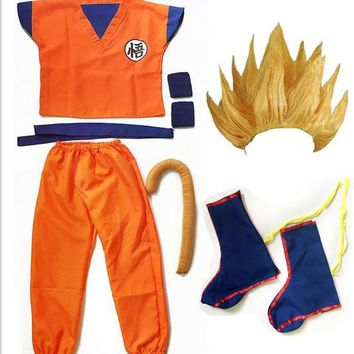 wig clothes set fancy halloween dragon ball z goku costume Suit Son Cosplay Costumes For Adult Kids children boys girl kid child
