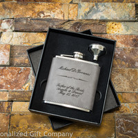 Personalized Leather Flask - Custom Engraved Man Gift - Gray Faux Leather