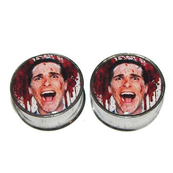 "American Psycho Plugs - 1 Pair (2 plugs) - Sizes 8g to 2"" - Made to Order"