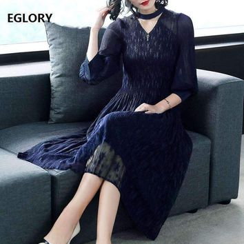 Casual Clothing Dress Business Women Stand Collar Hollow Out Pleated Slim Fit Flare Dress Solid