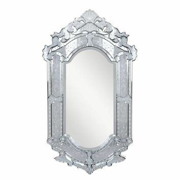 Venetian  Transitional Clear-finished Wood and Beveled Glass 27.6-inch Wall Mirror