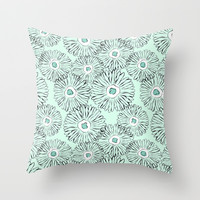 Mint  freehand drawing of sunflowers Throw Pillow by Silvianna