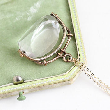 Antique Rock Crystal Quartz Spinner Fob - Vintage Victorian Late 1800s Faceted Clear Gemstone Gold Filled Pendant Charm Necklace Jewelry