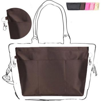 LMF9GW Women Insert Organizer Travel Pocket Heighten Style Tote Storage Bag Super Large Capacity Casual Cosmetic Bag In Bag Inside Hook