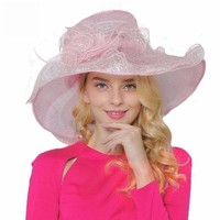 Pink Organza Large Brim Summer Hats For Kentucky Derby Hat