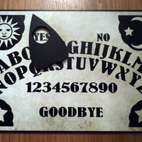 A4 Hand Finished Wooden Sun, Moon & Stars Talking Board Set Complete with Wooden Planchette, Classic Ouija Style Board