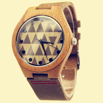 Yan & Lei Bamboo Watch with Leather Belt Triangles