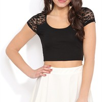 Short Sleeve Crop Top with Lace Yoke