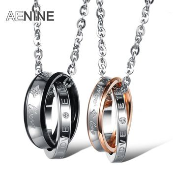 AENINE Romantic FOREVER LOVE His And Her Promise Necklace Stainless Steel Necklace For Women Men Wedding Jewelry OGX866