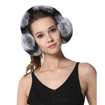 New High Quality Unisex Real Rex Rabbit Fur Earmuffs Womens Real Fur Ear Warmer Winter Kids Warm Earmuffs LX00774