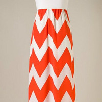 Show Time Chevron Maxi Dress - Orange and White