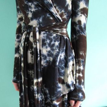 Tie Dye Cardigan Wrap, Brown, Black, Yoga Tunic, Bohemian, Jacket