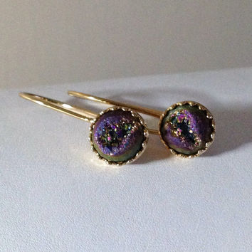 """Titanium Purple Rainbow """"Crowned With Glory"""" Druzy Cabochon Gold Kidney Wire Earrings"""