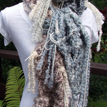 "Knit Scarf. Infinity. 84"" long. Disheveled. Made by Bead Gs on ETSY. Fringe. Blue. Tan. Gray. Cowl Scarf."