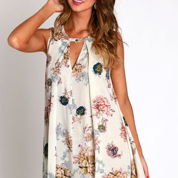 Fleur De Printemps Cutout Dress