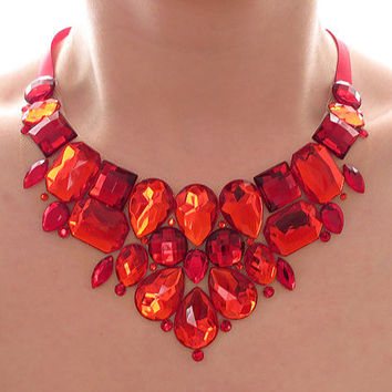 Red Rhinestone Bib Necklace, Rhinestone Statement Necklace, Red Rhinestone Necklace, Sparkly, Jeweled Bib, Bridesmaid Necklace