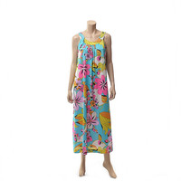 Vintage 60s EDUARDO Travel-Lite Gown 1960s Psychedelic Mod Floral Print Nightgown Carnaby Street Loungewear Hostess Dress / XL