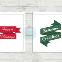 Christmas Printable,Happy Holidays and Season's Greeting Xmas Wall  Poster, Christmas Printables, Season's Greeting Artwork Printables