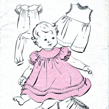 Weldons 1472 - Baby Dress Pattern - Babies' Dress Petticoat And Panties - Vintage Sewing Pattern - 6 To 12 Months