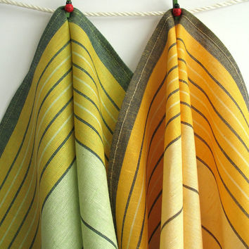 2 Organic Linen Tea Towels. Yellow U0026 Green Striped Organic Dish
