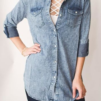 Acid Wash Chambray Top - Light Blue