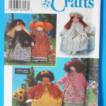 Simplicity Crafts 8835 Soft Sculpture Doll Sewing Pattern Dress Hat Petticoat Clothes Uncut FF 1999