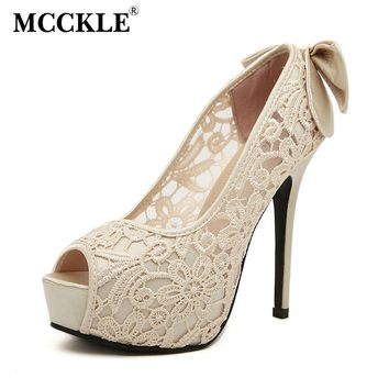 MCCKLE Women's Sexy Peep Toe Lace Party Shoes Fashion Hollow Platform Bowtie Pumps 2017 New Female Elegant High Heels Sandals
