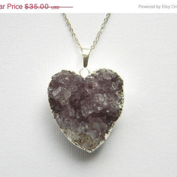 VACATION SALE Amethyst Heart Druzy Necklace  Silver by DanaCastle