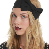 LOVEsick Solid Black Chiffon Bow Stretchy Headband