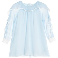 Girls Sheer Blue Crêpe Dress