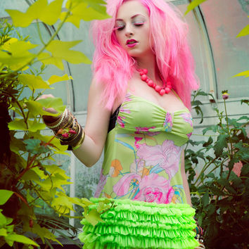 Harajuku Fashion Halter Top Sundress in Lime Green Vintage Floral Print with Neon Green Ruffles by Janice Louise Miller
