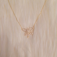 Sterling Silver Crystal Butterfly Pendant with Gold Vermeil