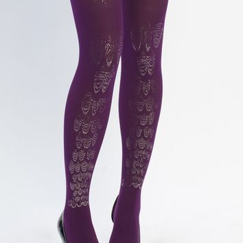SALE - Hand printed tights, Leg jewel, silver on purple, one size, from the Classic collection
