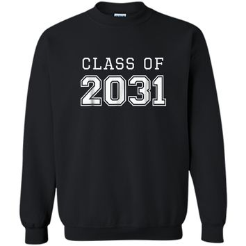 Class of 2031 Grow With Me  First Day of School  Printed Crewneck Pullover Sweatshirt