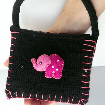Elephant Coin Purse, Black Knitted Boho Purse, Miss Paisley Coin Purse, Animal lover gift, Boho, Girls, Teens, Womens