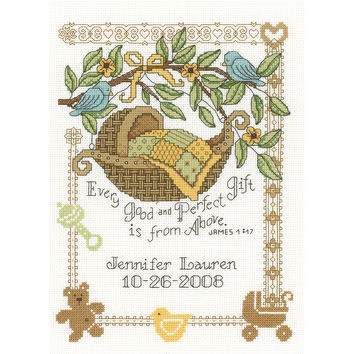 """Perfect Gift Birth Record Counted Cross Stitch Kit-7.5""""""""X10"""""""" 14 Count"""