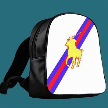 Polo Ralph Lauren Red Blue Stripe Logo for Backpack / Custom Bag / School Bag / Childr