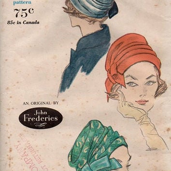 Vintage Vogue Sewing Pattern 1960s Retro Ladies Hat Turban Side Bow Designer Cap John Frederics Head Size 23