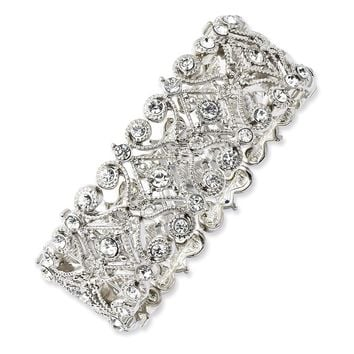 Silver-tone Clear Crystals Stretch Bracelet
