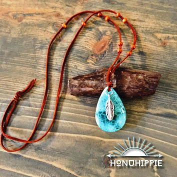 Native American feather necklace, boho chic festival jewelry