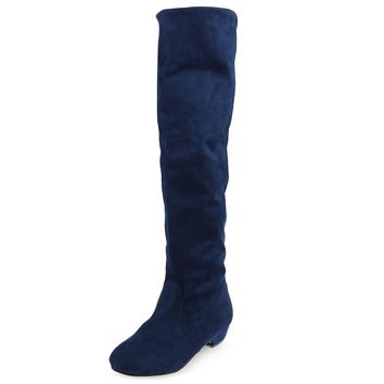 Vintage Pure Color Round Toe Ladies Knee Boots