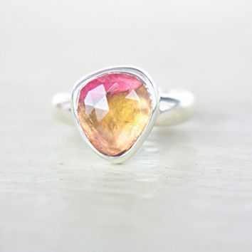 Watermelon Tourmaline Ring Sterling Silver Natural Rose Cut Tourmaline Engagement Gemstone Engagement Ring Size 4,5-5,5 Silversmith