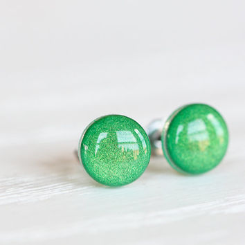 Emerald Shimmer Post Earrings- Hypoallergenic Studs