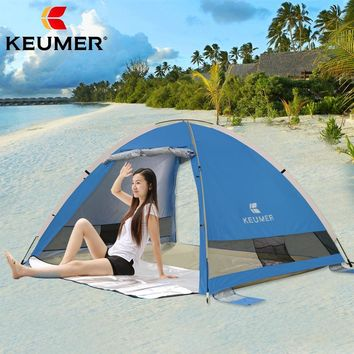 Portable Pop up Beach Sun Shelter Automatic Instant Tent Anti-UV 3-4 Person Canopy Family Tent for Camping,Fishing,Hiking,Picnic
