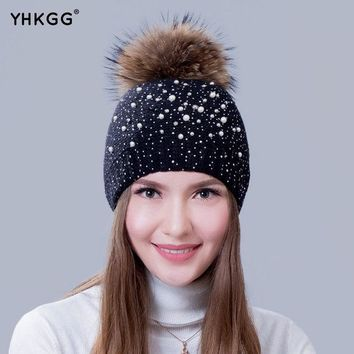 ICIKJG2 2016 with pearl drills very fashionable lady warm winter wool cap wool knitted cap cap with the bulb Raccoon Fur Pom Pom Hat