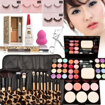 ONETOW Makeup Set Eyeshadow Blush Powder Contour Palette Eyebrow Powder Pencil Eyelash Glue Curler false eyelash Cosmetics Sponge puff