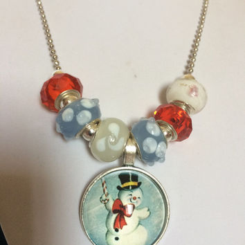 Unique Christmas Gift for Her Wife Daughter Friend Christmas Stocking Stuffer Christmas Jewelry Venetian Glass Snowman Christmas Necklace