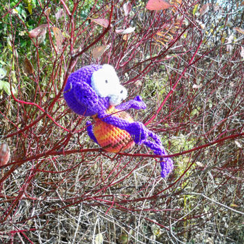 Handmade crocheted small purple bug eyed baby monkey,crochet stuffed monkey toy, perfect for kids or adults.Baby shower gifts,birthdays,xmas